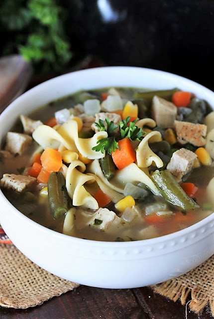 Quick Turkey Noodle Soup with Mixed Vegetables Image