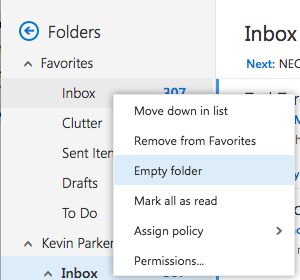 Empty Folder option