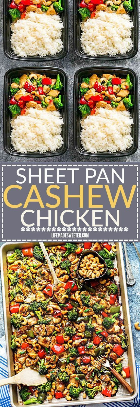 Cashew Chicken Sheet Pan has all the flavors of the popular Chinese restaurant takeout dish made on a sheet pan. Best of all, super easy to make with paleo friendly options. Plus a serving of tender crisp broccoli and red & green bell peppers for a healthier meal. Perfect for busy weeknights! Plus a step-by-step how to video! Weekly Sunday meal prep for the week and leftovers are great for lunch bowls & lunchboxes for work or school