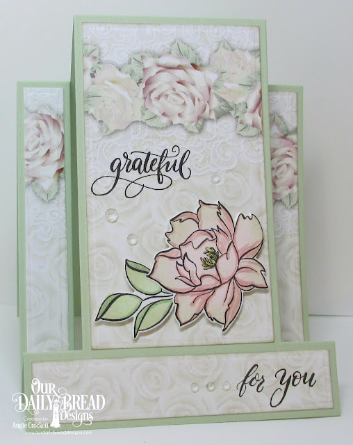 ODBD Hello Friend Stamp/Due Duo, ODBD Custom Center Step A2 Card Die, ODBD Custom Center Step A2 Layers Dies, ODBD Romantic Roses Paper Collection, Card Designer Angie Crockett