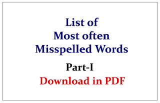 List of Most often Misspelled Words in English Questions Part-I