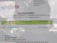 LOWONGAN SYNGENTA CAB PESISIR SELATAN || SALES REPRESENTATIF !!