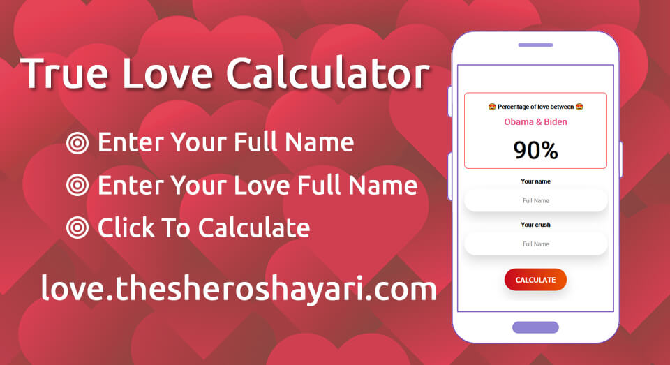 True and real Love Calculator By Name