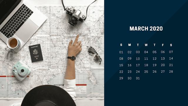Calendario para viajeros de marzo 2020