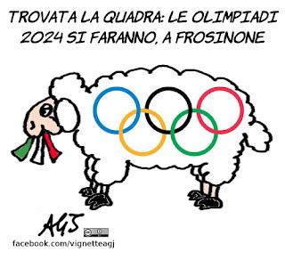 olimpiadi, roma, frosinone, nolimpiadi, vignetta, satira