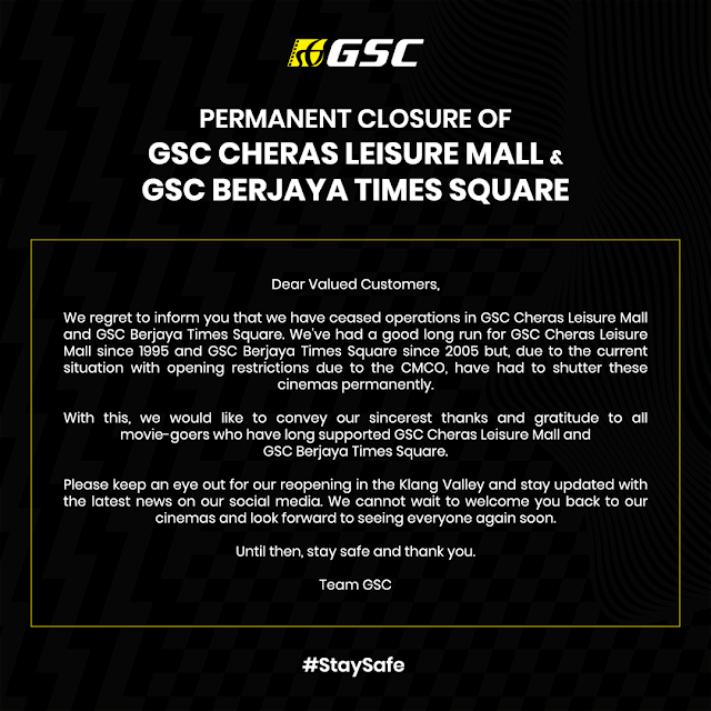 GSC Cheras Leisure Mall Dan GSC Berjaya Times Square Kini Ditutup Selamanya