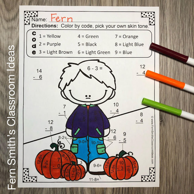 Fall Color By Number Addition and Subtraction Bundle #FernSmithsClassroomIdeas