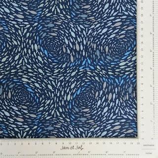 Tela de algodón americano azul con bancos de peces