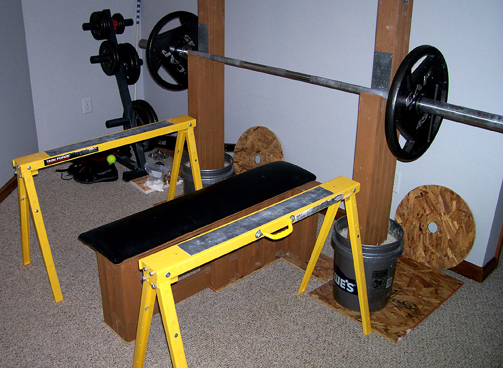 gym bench press chair hanging outdoor nz homemade strength the strongest you ll never buy everything see here for less than 150 i m assuming can t bar weights shoes and else in back corner