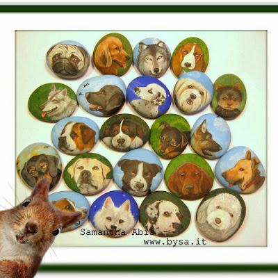 Sassi dipinti segnaposto fermatovaglioli dipinti a mano cani