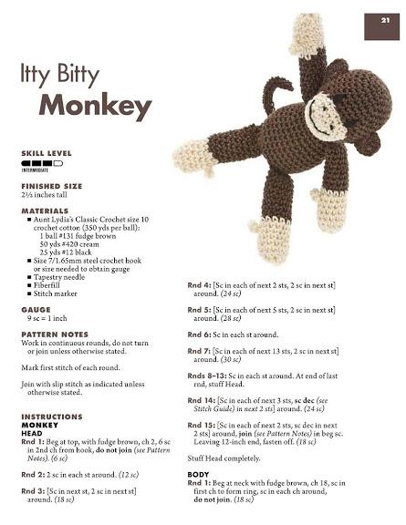 Monkey with green collar amigurumi pattern(3) - free cross stitch ... | 576x445