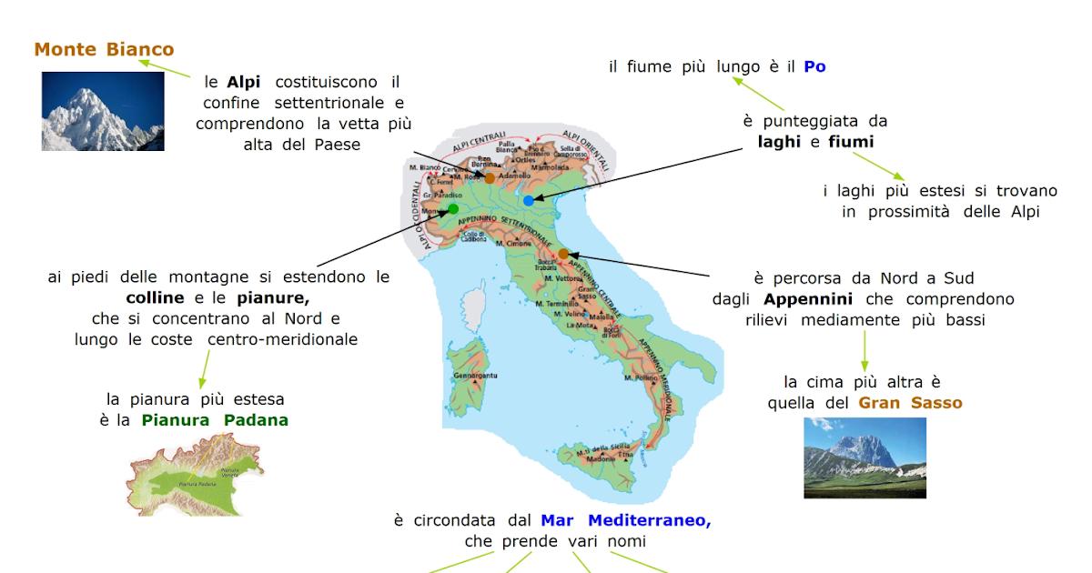 Cartina Fisica Dell Italia Da Colorare