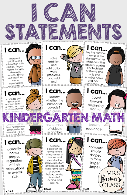 I Can Statements Common Core Posters for Kindergarten Math, featuring Melonheadz Kidlettes. Display in the classroom on a focus board or objective board for student reference and learning. An educational display for use in Kindergarten. Hang as you teach a new learning standard. No prep- just print and go!
