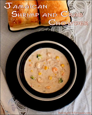 Jamaican Shrimp and Crab Chowder comes together in about ½ hour for a satisfying meal with big flavor and a bit of a kick. | Recipe developed by www.BakingInATornado.com | #dinner #soup