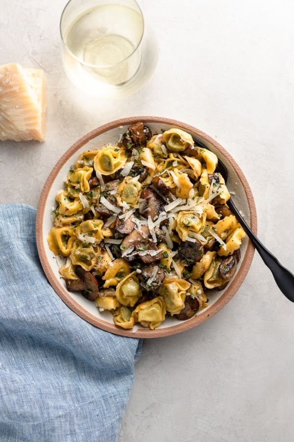Tortellini with Mushrooms, Butter, and Parmesan