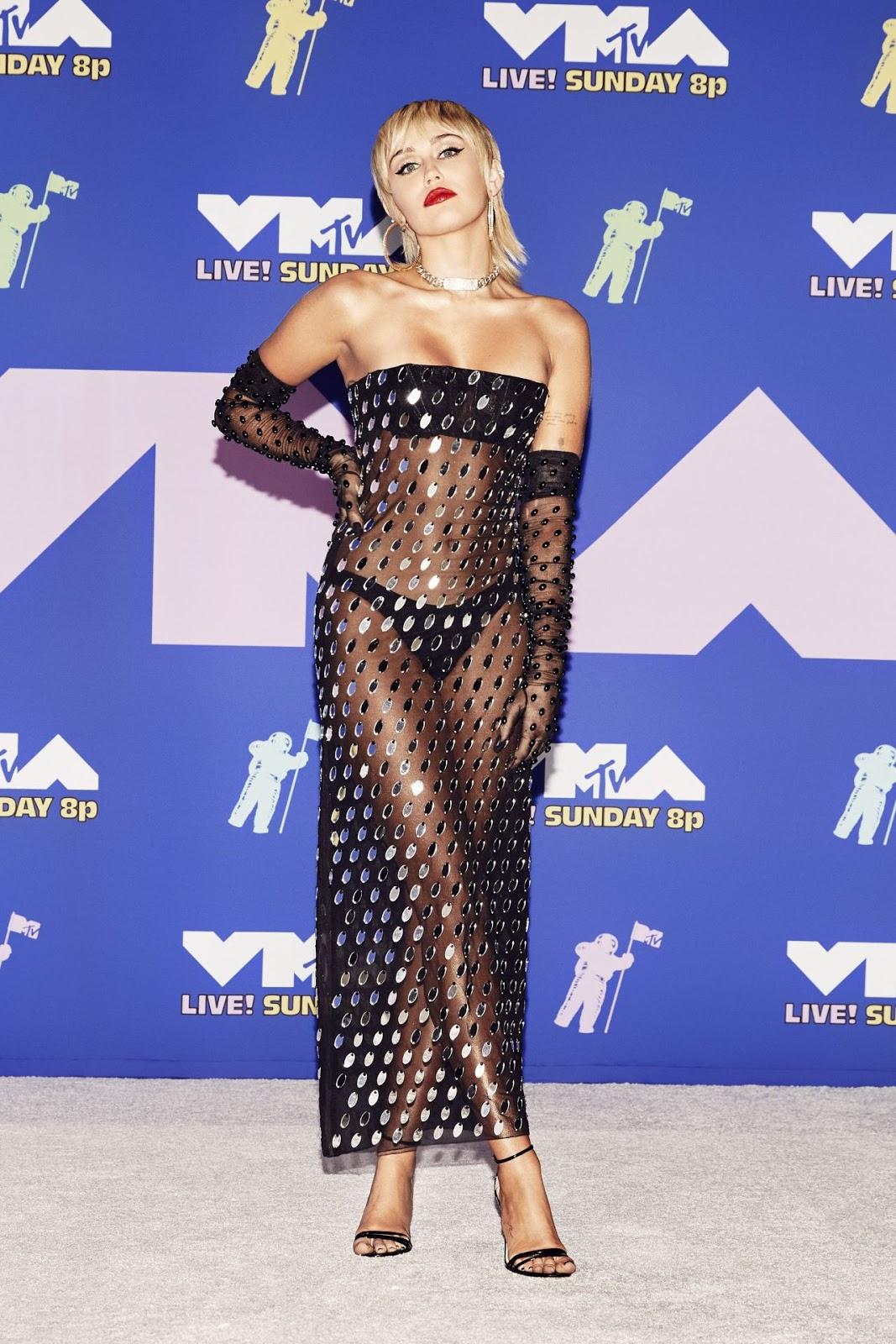 Miley Cyrus Wore a Sheer, Super-Sexy Dress at the VMAs