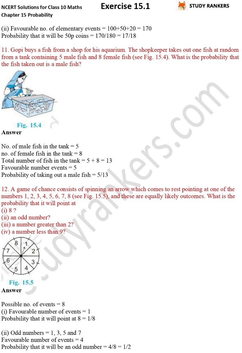NCERT Solutions for Class 10 Maths Chapter 15 Probability Exercise 15.1 Part 4