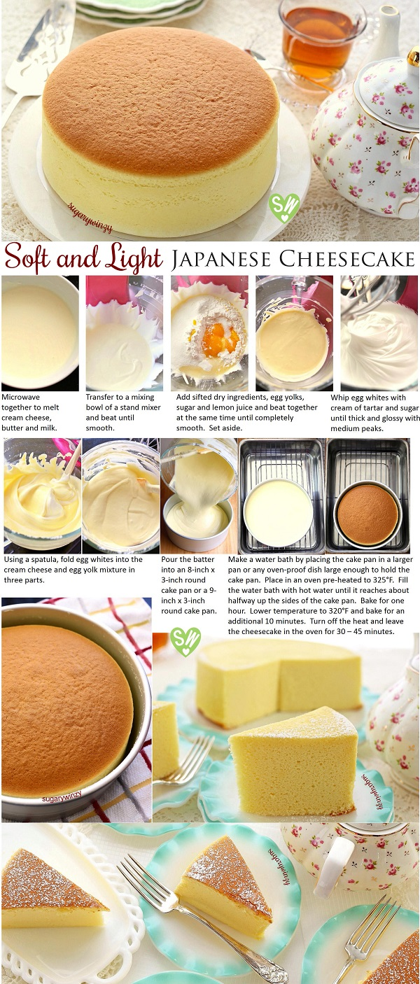#food #Recipe #easy #cooking #cake #chicken #healthy : Soft and Light as Air Japanese Cheesecake