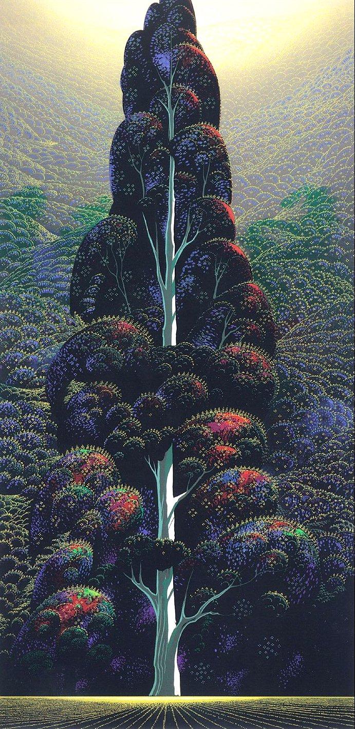 Eyvind Earle, giant tree in farm field