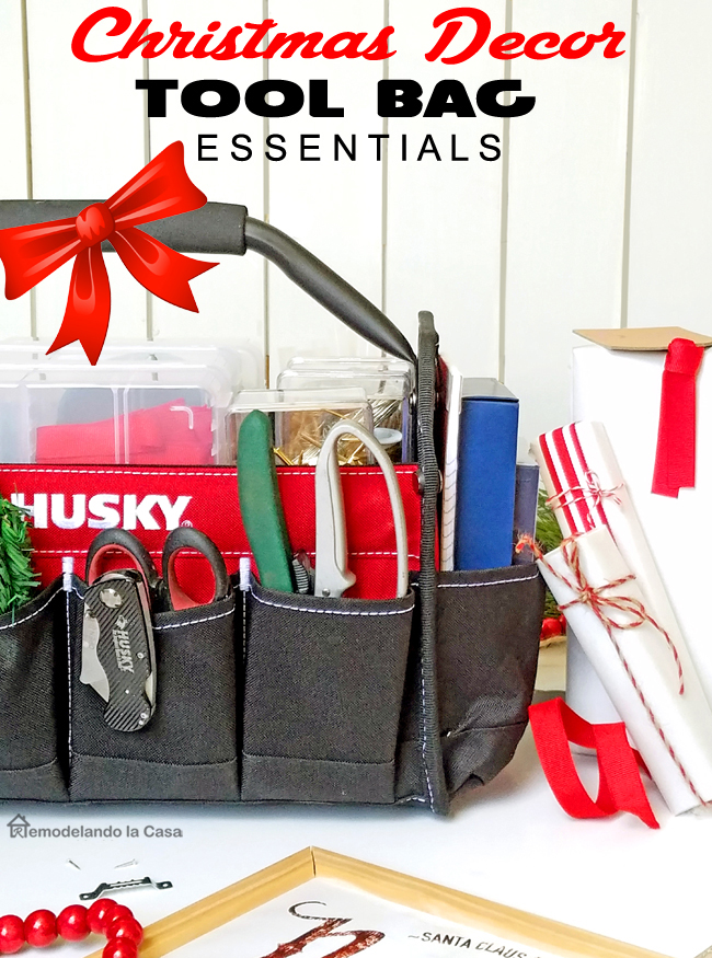 A Husky Tool tote full with Christmas decor tools and supplies