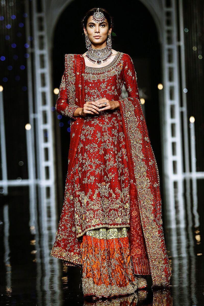 Ansab Jahangir showcasing Pakistani bridalwear for barat