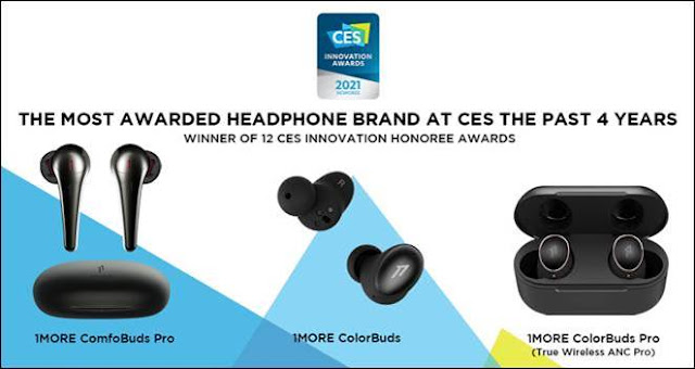 1MORE receives 3 CES Innovation Awards for ComfoBuds and ColorBuds Series TWS Earphones