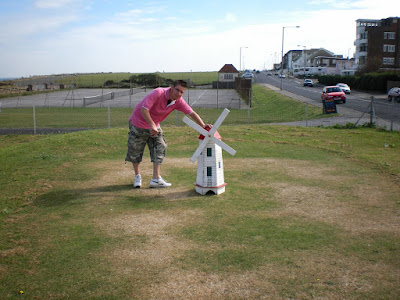 The windmill hole on the grass putting miniature golf course at the Palm Bay Café in Cliftonville, Margate back in 2007