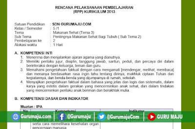 RPP Kelas 5 Tema 3 Kurikulum 2013 Revisi Tahun 2019