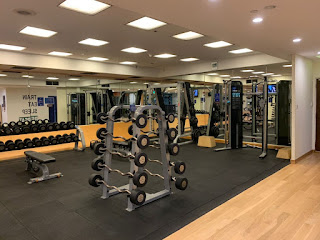 Weights section of hotel gym