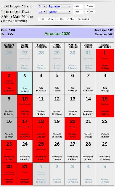 Kalender Jawa hari baik bulan agustus 2020