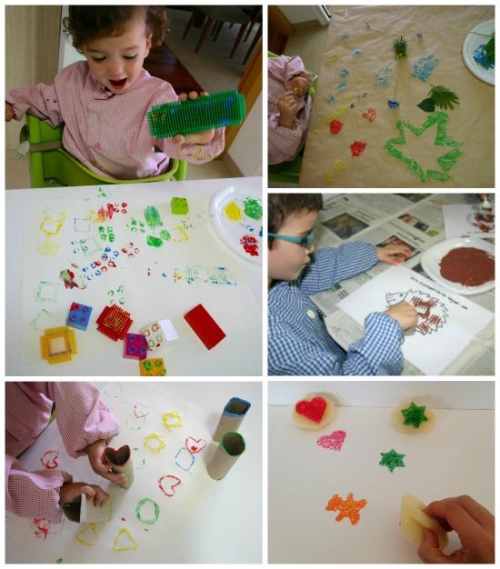 Manualidad infantil, pintar estampar con objetos caseros