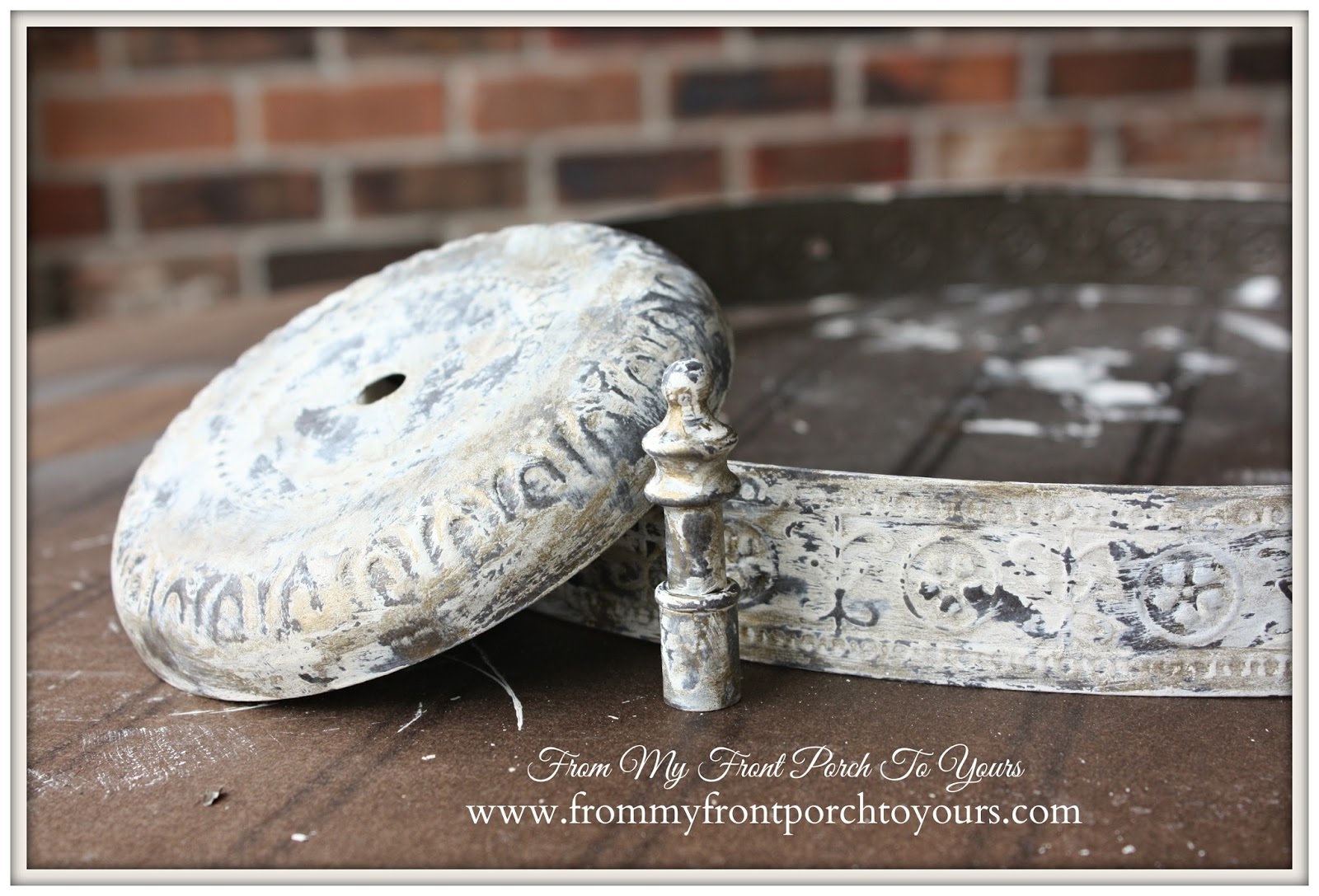 Industrial Farmhouse Light-Custom Painted Light Fixture- From My Front Porch To Yours