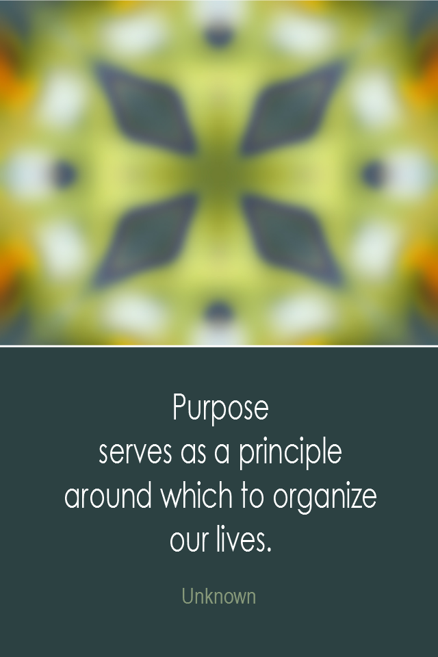 visual quote - image quotation: Purpose serves as a principle around which to organize our lives. - Unknown