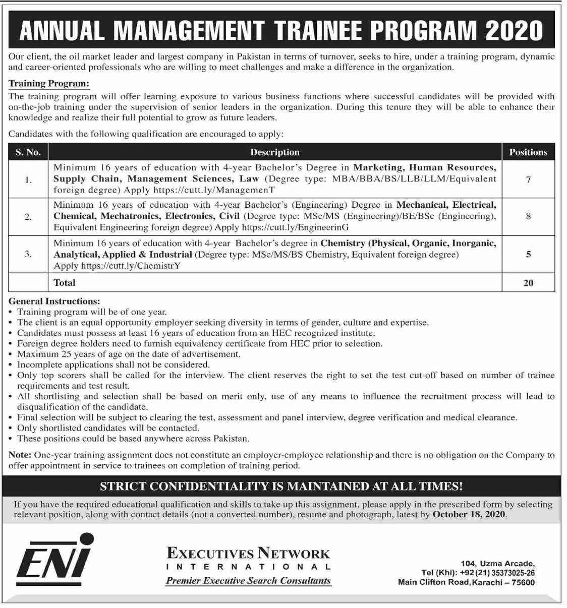 Management Trainee Program 2020 for Executive Network International ENI Jobs