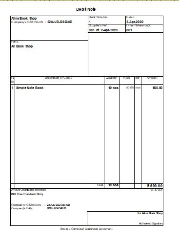 Debit Note Print