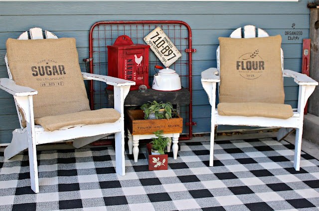 Stenciled Burlap Cushions with Old Sign Stencils