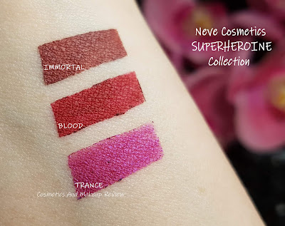 Neve Cosmetics – SuperHeroine Collection - Immortal, Blood, Trance swatches
