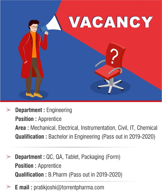 Torrent Pharma | Apprentice opportunity for freshers in Engineering/QA/QC/Packing | Send CV