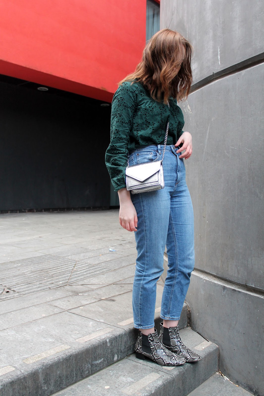 Zara bottle green borderie anglaise top, asos farleigh jeans in blue, snake print boots and silver metallic bag, Liverpool fashion blogger