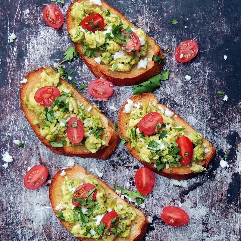 Green Chile Breakfast Bruschetta on a baking sheet