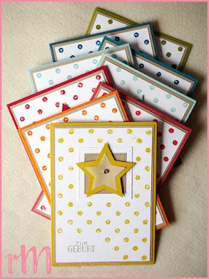 Stampin' Up! rosa Mädchen Kulmbach: Karten zur Geburt mit Sternen, Distressed Dots und Framelits Stickmuster in Regenbogenfarben