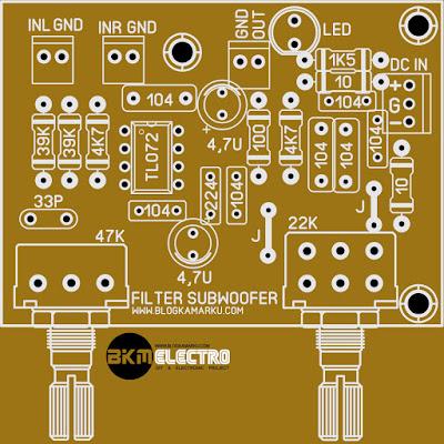 PCB LPF Subwoofer Menggunakan IC TL072
