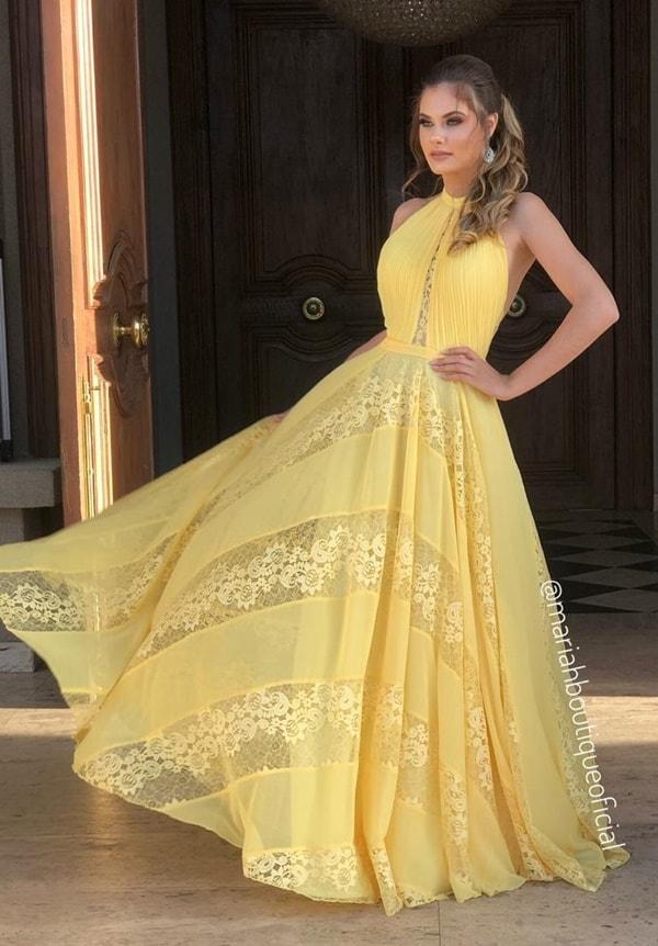 vestido longo amarelo para madrinha de casamento