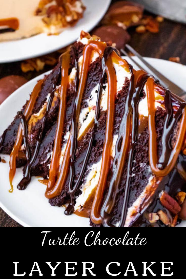 #Turtle #Chocolate #Layer #Cake #chocolate #layercake #desserts