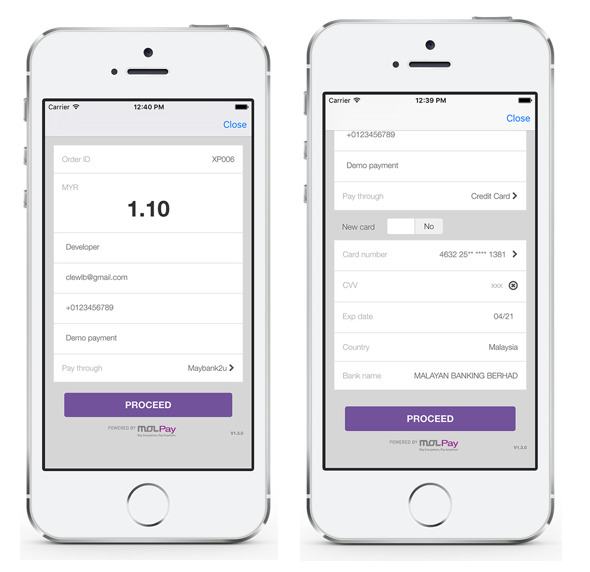 MOLPay Mobile XDK: credit card pre-authentication payment