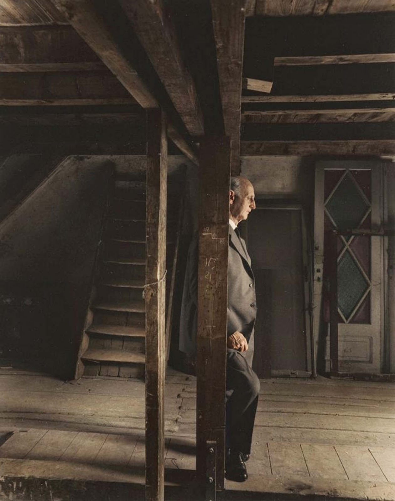 Otto Frank, Anne Frank's father and the only surviving member of the Frank family, revisiting the attic they spent the war in.
