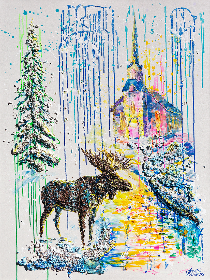 Christmas eve abstract,   office painting, Christmas painting,Christmas eve 3d , moose painting,  church painting, winter painting,  3D abstract, animal painting