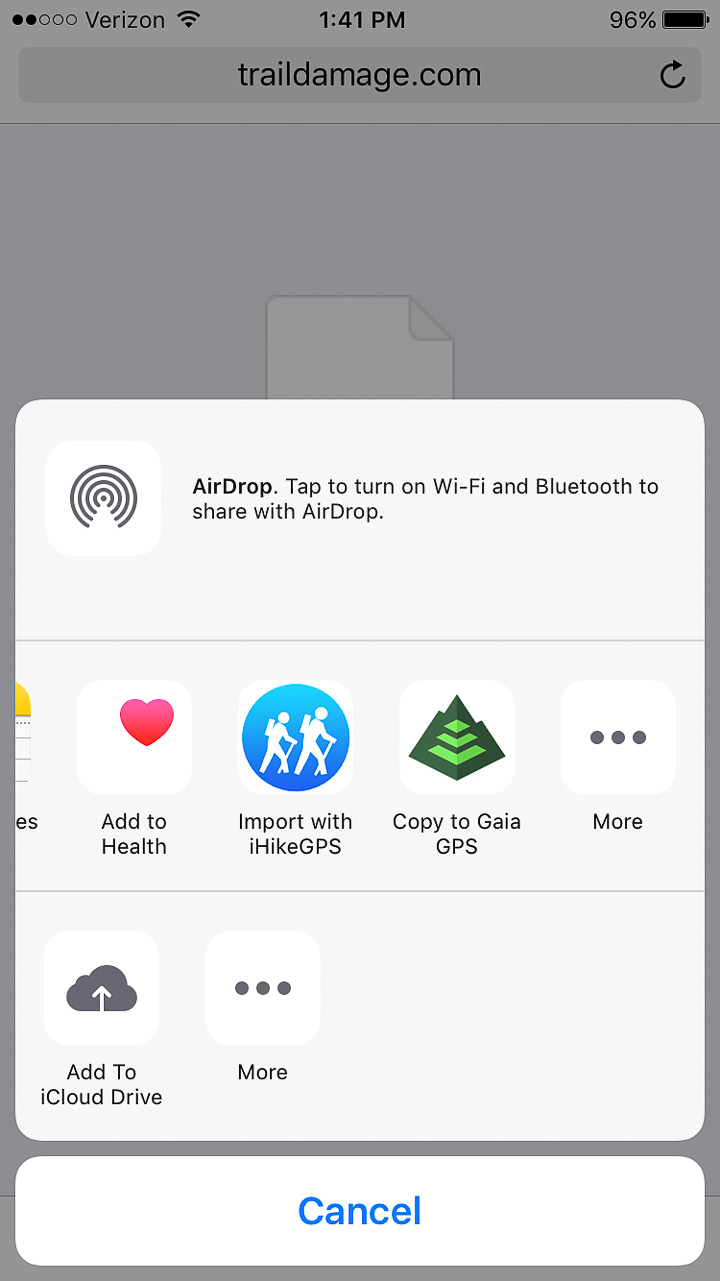 once the file is downloaded you can choose which app to open it up in i ve grown to like gaia gps for both it s in app gui as well as its online webportal