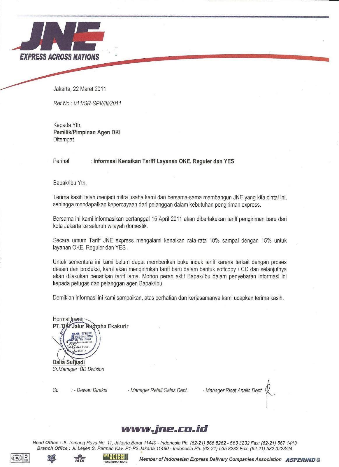 contoh surat pemberitahuan resmi perusahaan