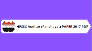 HPSSC Hamirpur Auditor (Panchayat) Previous Year Question Paper 2017